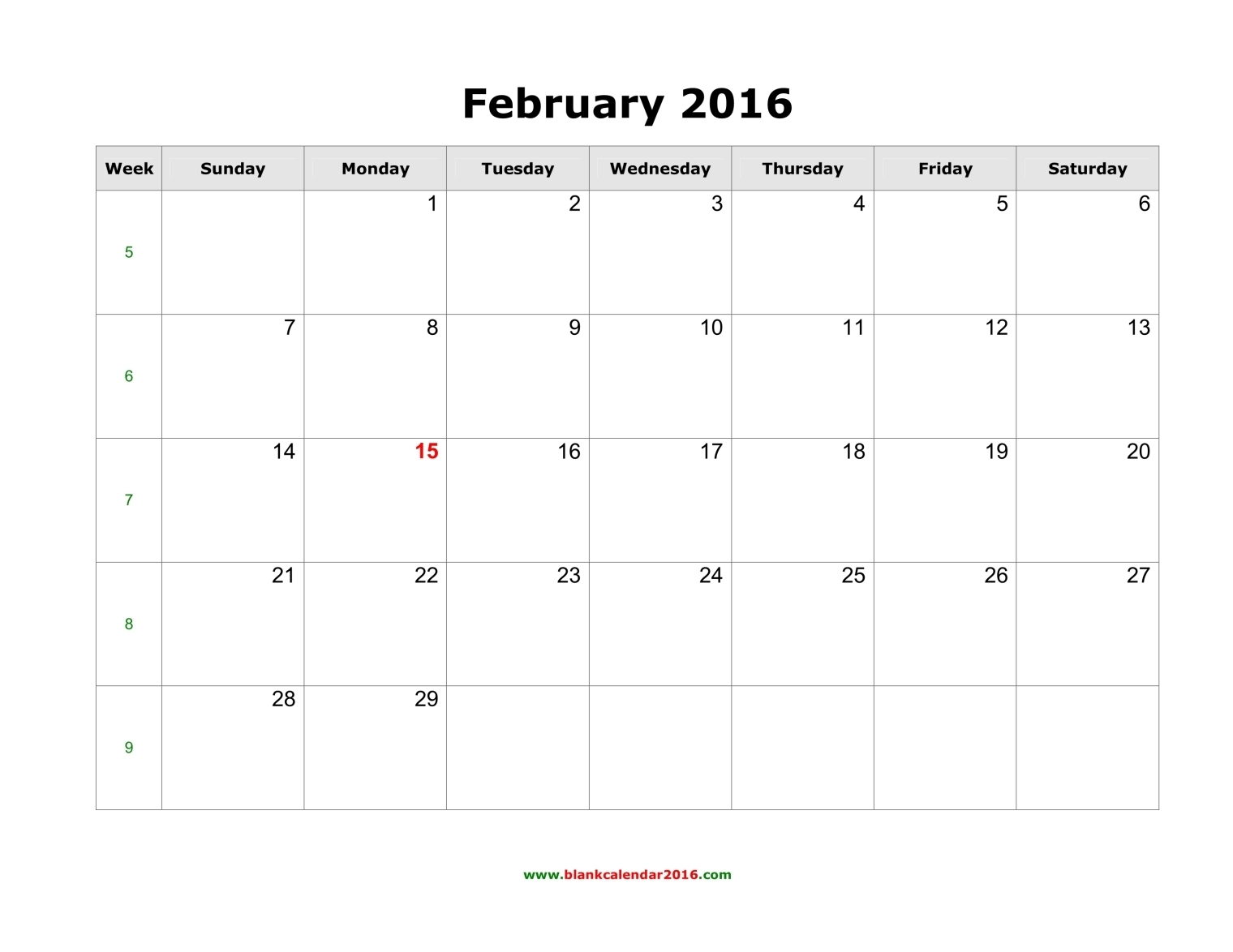 February 2016 Calendar Printable Template (8 Templates)