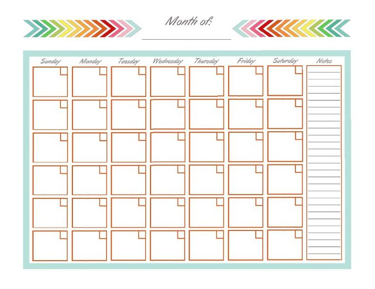 Blank Monthly Calendar Page – Printable Editable Blank