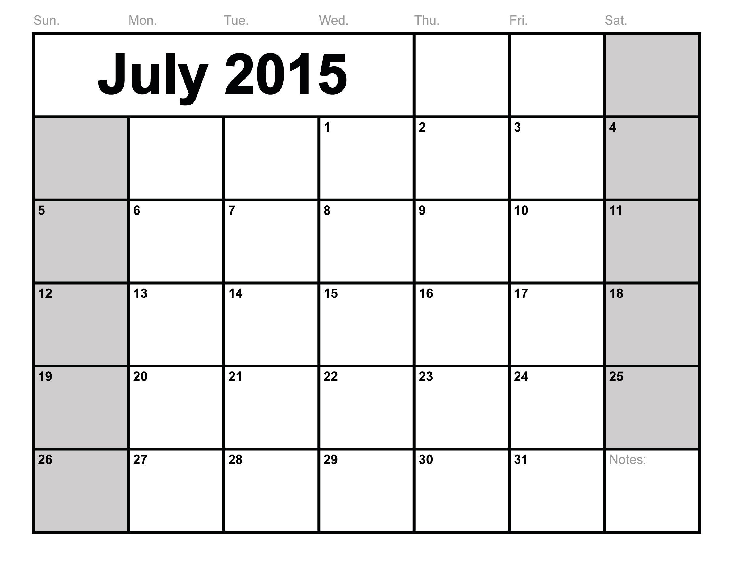 July 2017 calendar Free printable calendar.com
