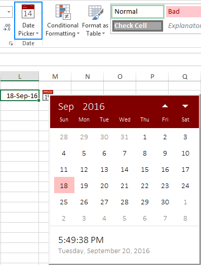 Inserting Calendar Drop Down In Excel 2016 | Calendar