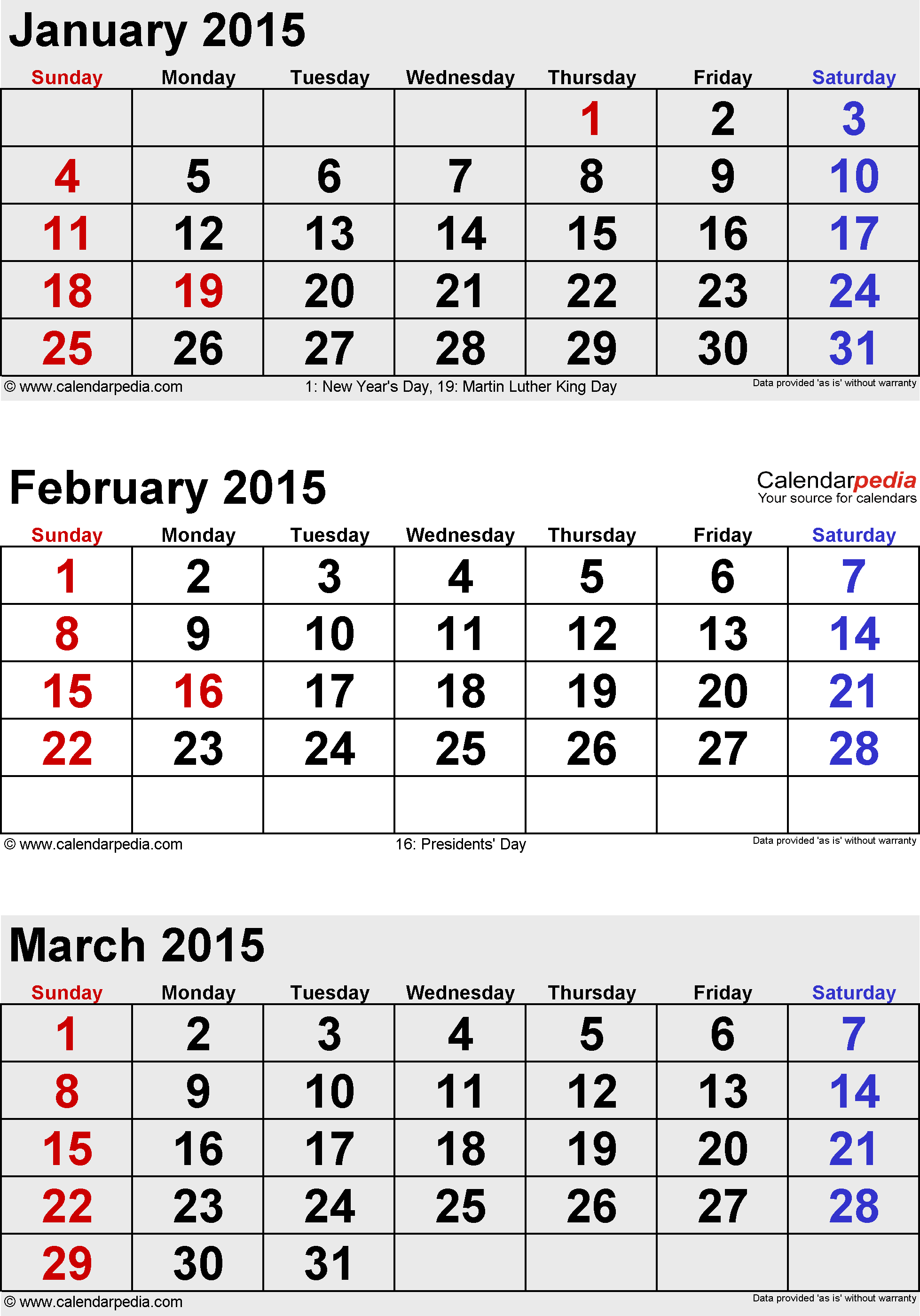 3 Month Calendars for 2014 – 2016 – Template Trove