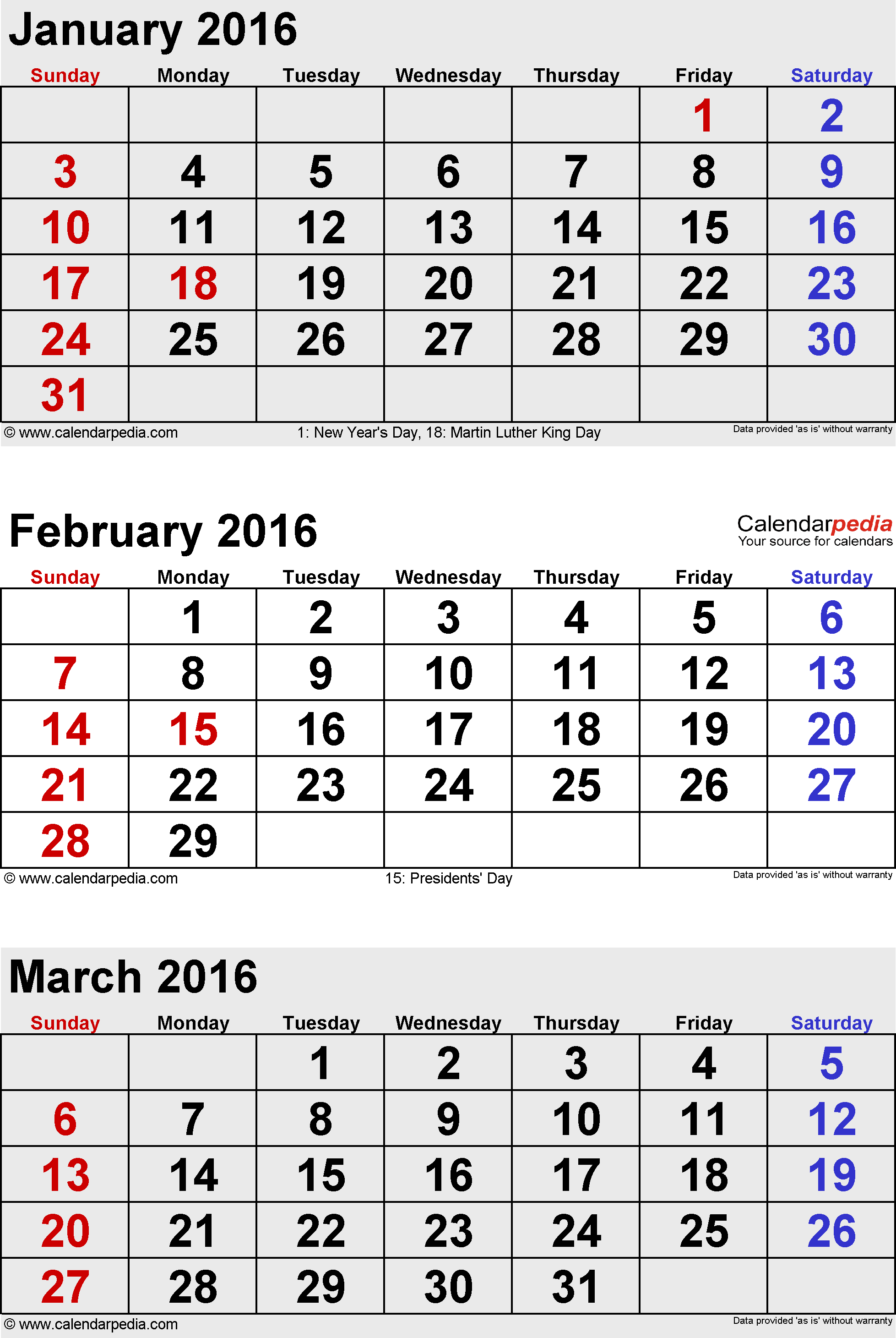 Jan Feb March 2016 Printable Calendar | Blank Calendar Design 2017