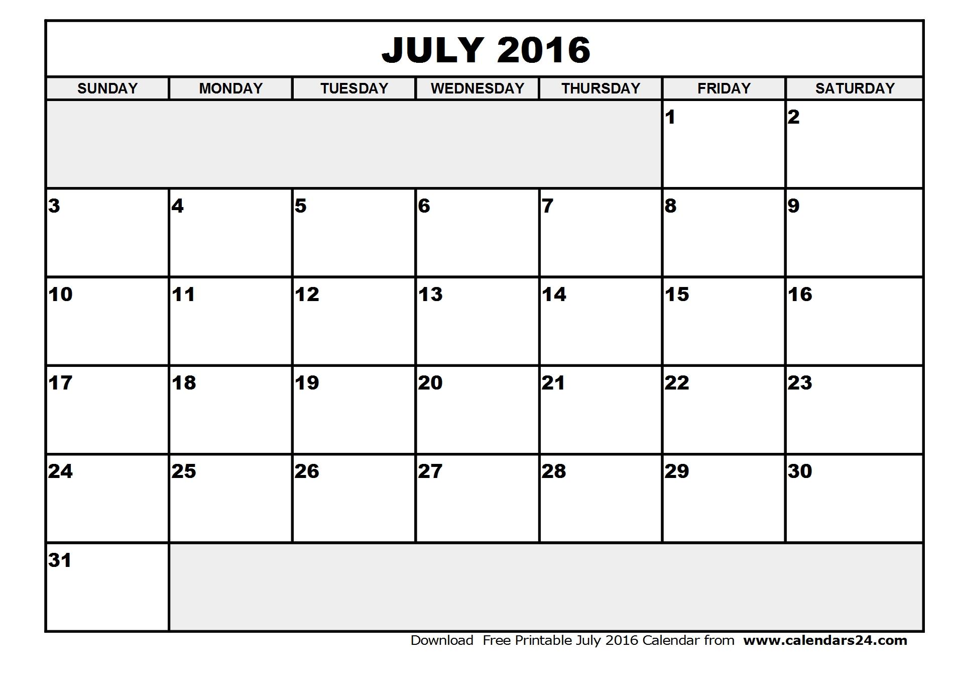 July 2016 Calendar & August 2016 Calendar