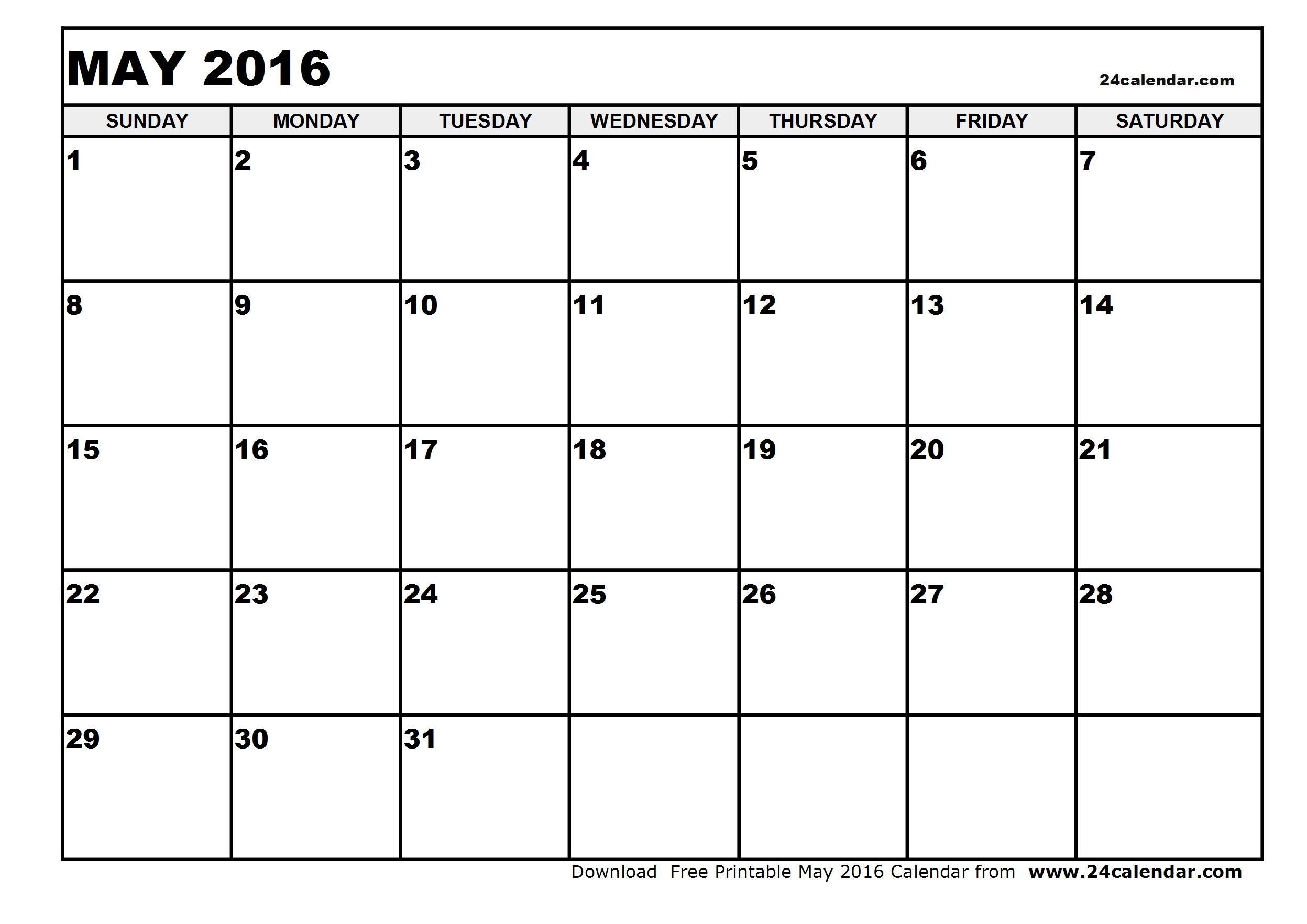 May 2016 calendar | May 2016 calendar printable