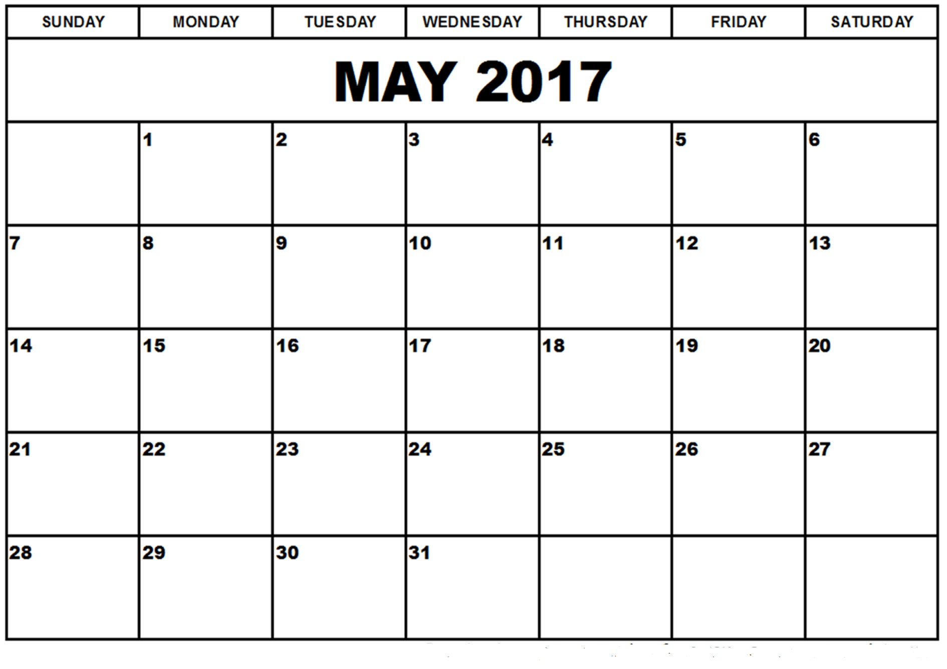 Blank Calendar Template May : Large blank may calendar printable template