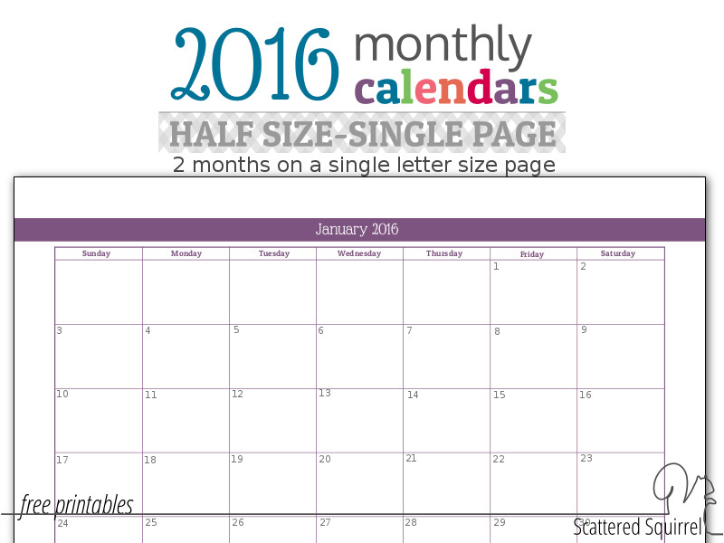 This printable monthly calendar prints on a letter size page but