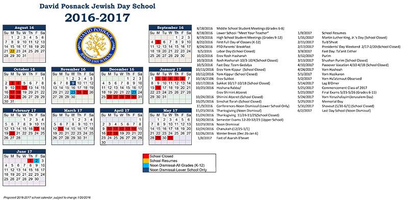 2016 2017 School Calendar | Posnack School