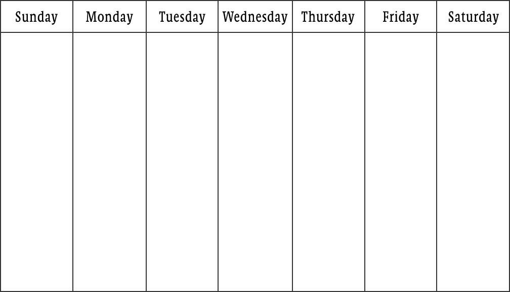 Weekly Calendar Print | weekly calendar template