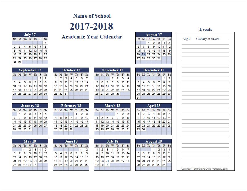 Academic Calendar Templates for 2016 2017