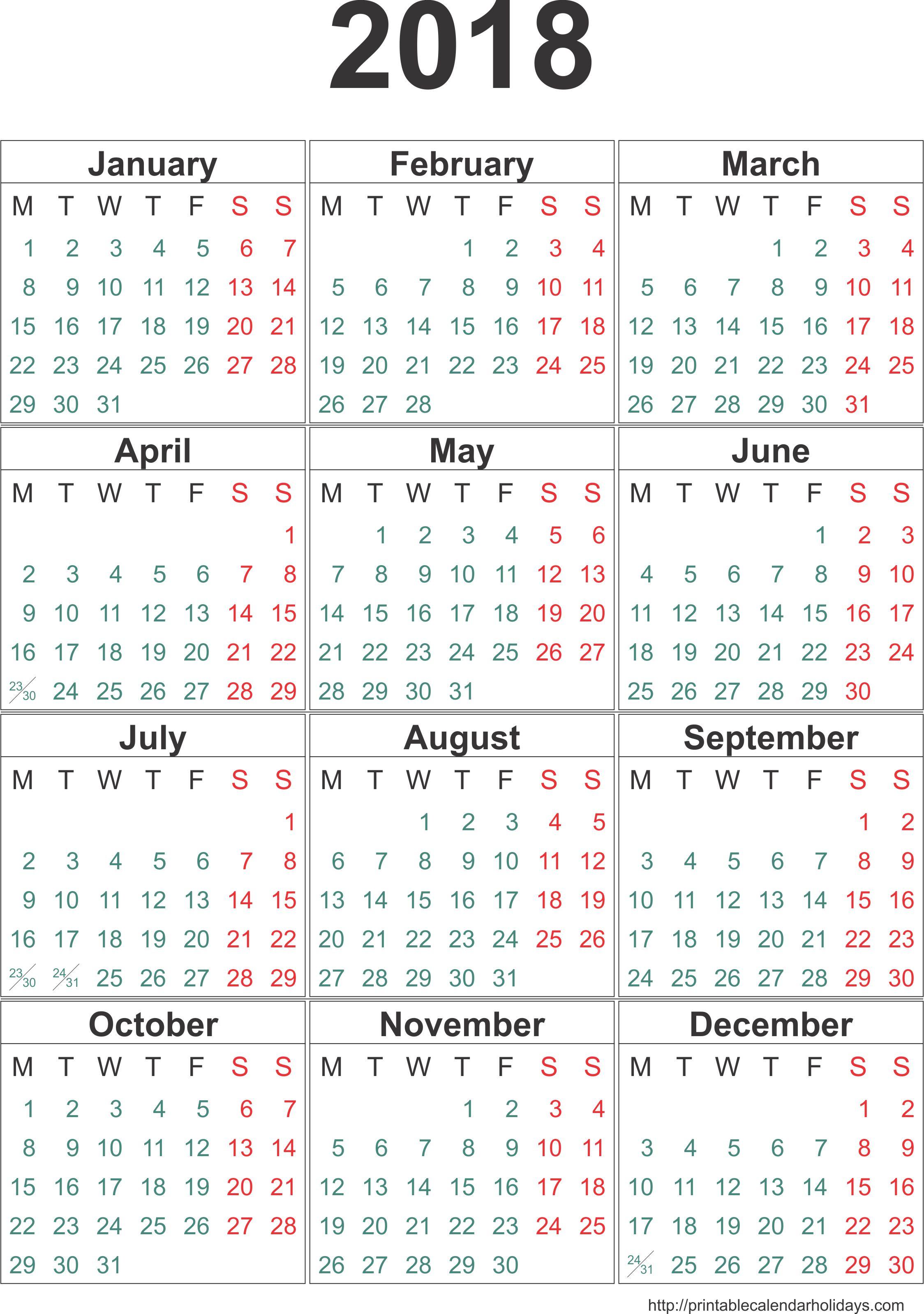 Yearly Calendar 2018 | weekly calendar template