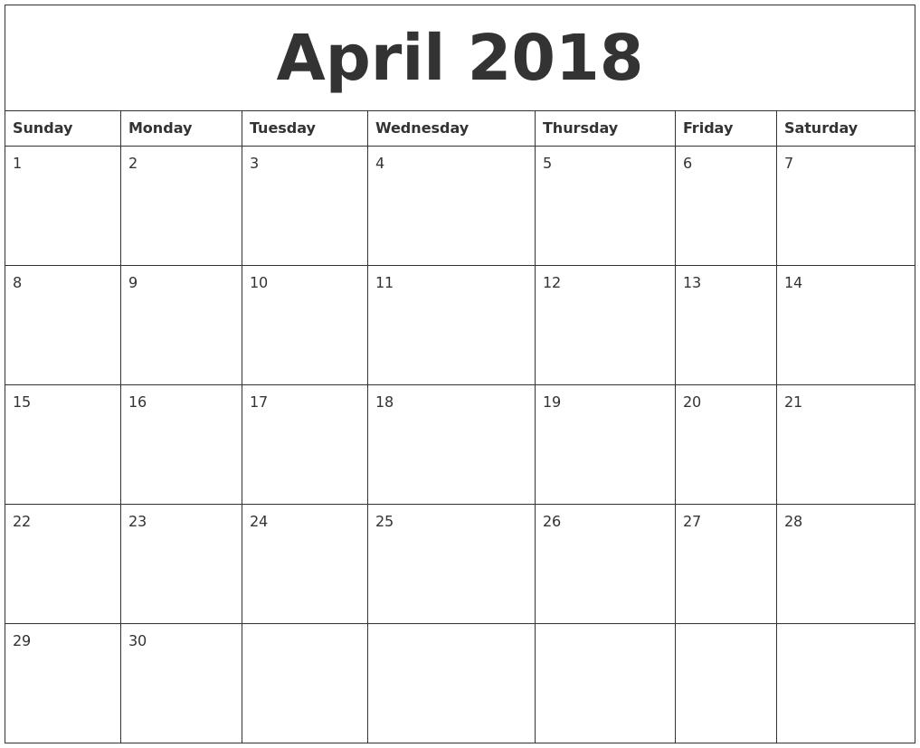 2018 Free Printable Monthly Calendar