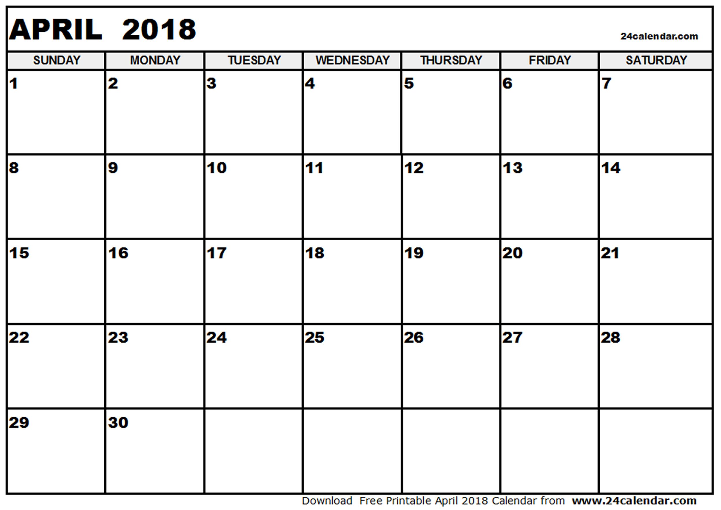 April 2018 Printable Calendar | monthly calendar template