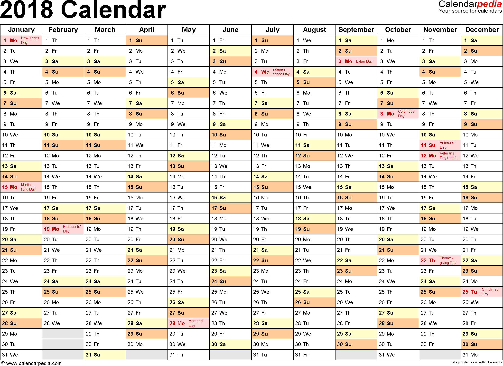2018 Calendar Download 17 free printable Excel templates (.xlsx)