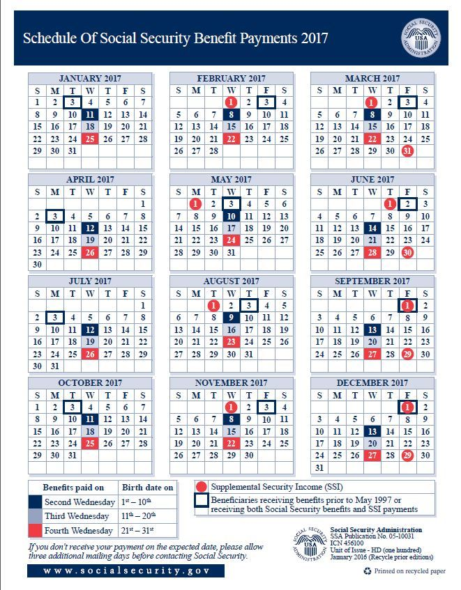 Social Security Payment Schedule for 2017 – Social Security