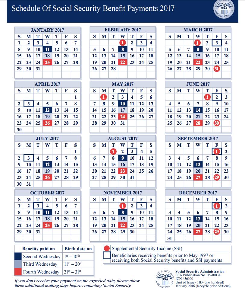 Social Security Benefit Payment 2017 Calendar | Blank Calendar