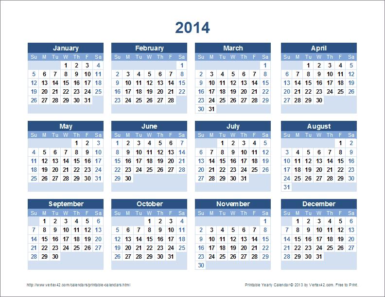 Plantilla Calendario Gratis Calendario Año 2016 para Imprimir