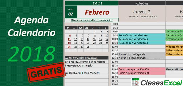 Clases Excel ¡Descarga la Agenda Calendario 2018 en Excel, gratis!