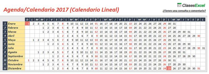 Clases Excel ¡Descarga la Agenda Calendario 2017 en Excel, gratis!