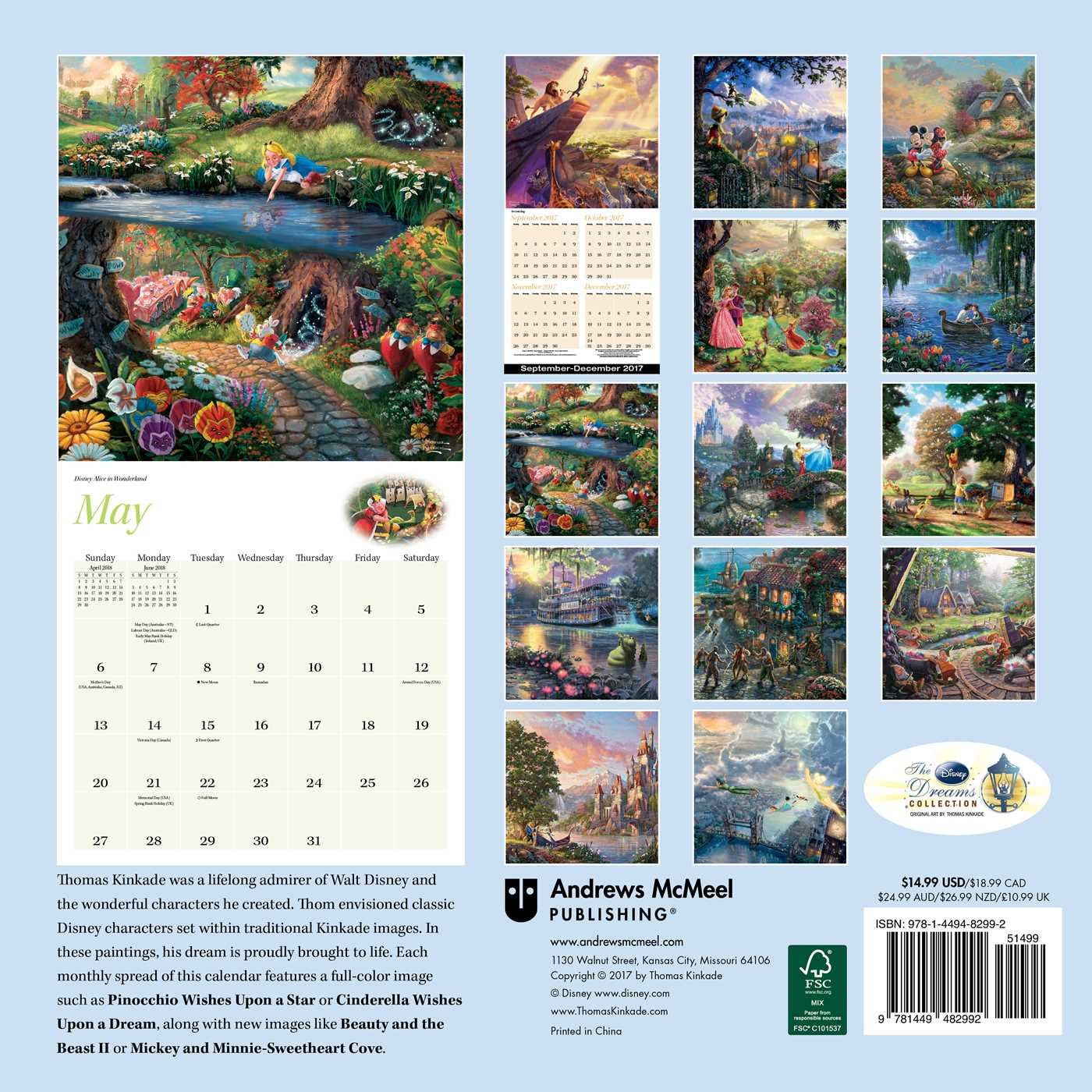 Amazon.com: Thomas Kinkade: The Disney Dreams Collection 2018 Wall