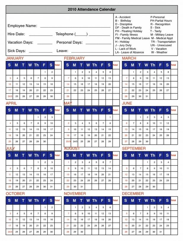 Attendance Calendar Templates. Sample Attendance Calendar Template