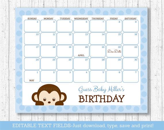 Monkey Baby Due Date Calendar / Monkey Baby Shower / Monkey