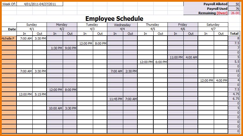 Monthly Employee Schedule Calendar Template | Blank Calendar