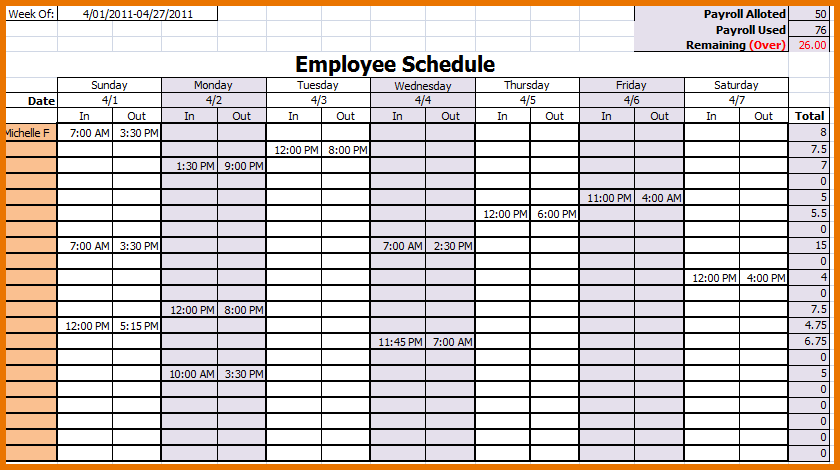 Free monthly employee schedule template download kubreforic free maxwellsz