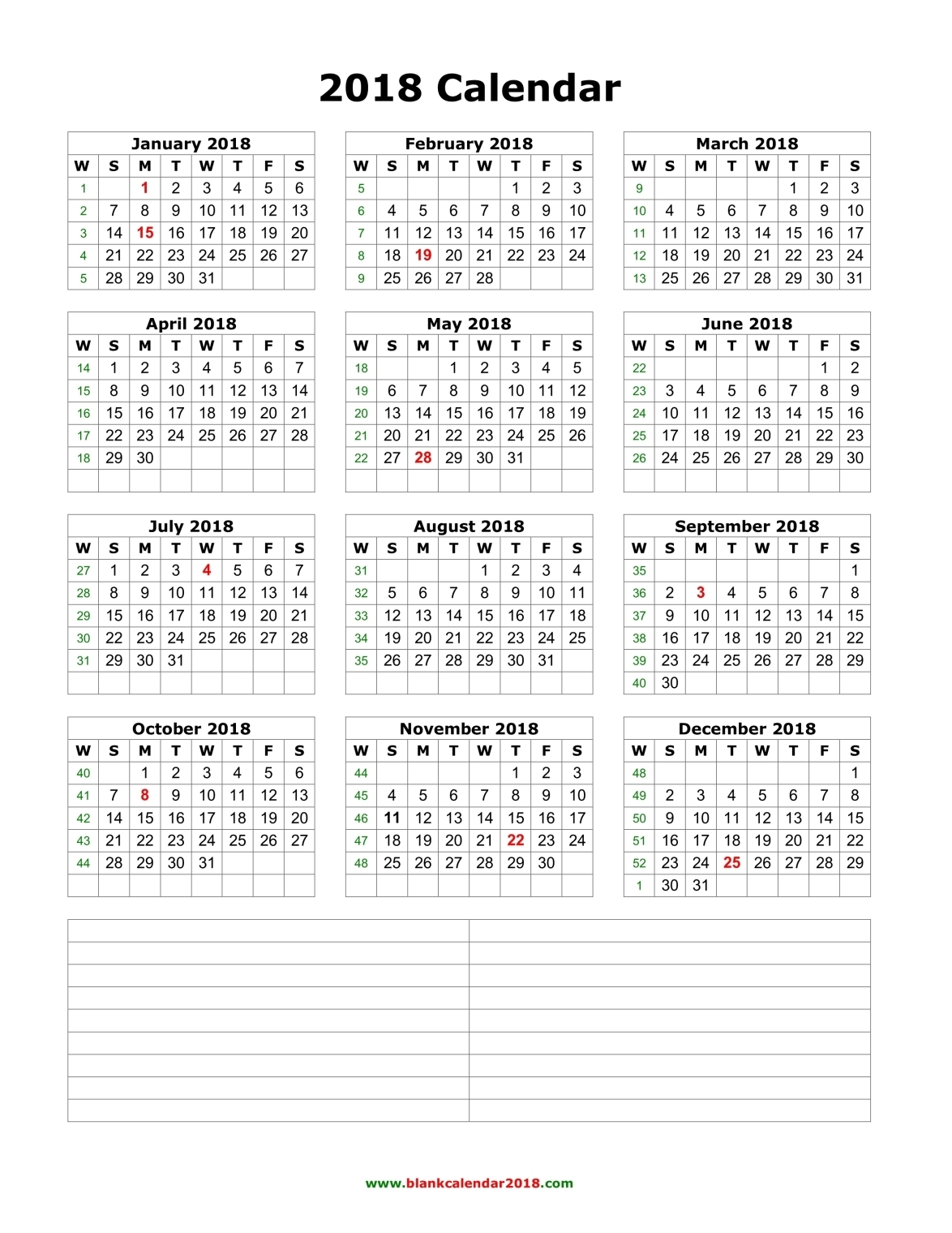 Year Calendar Pretty : Pretty calendar printable one page with space for