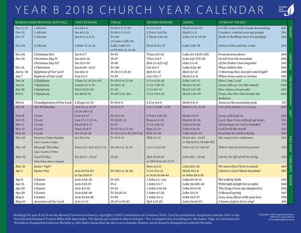 Year Calendar 2018, Year B