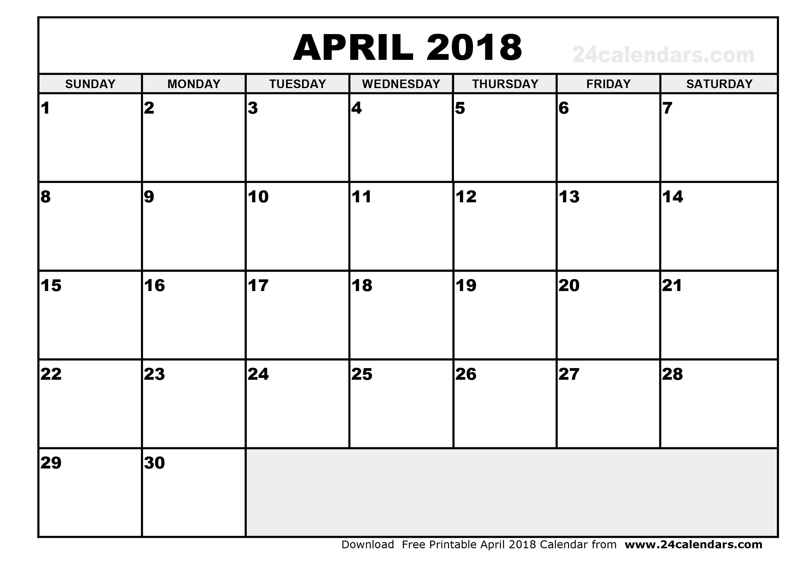 April 2018 Printable Calendar | 2018 calendar printable