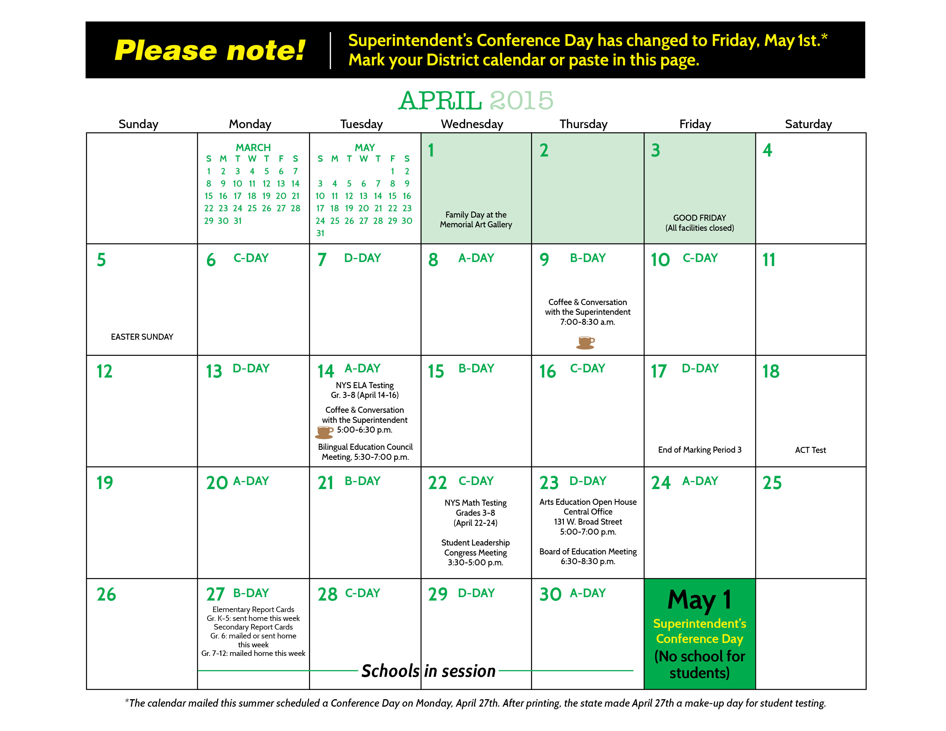 Calendar New York April : Board of education holiday calendar nyc