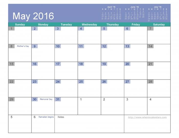 Bold Calendar May * Calendar Printable Template