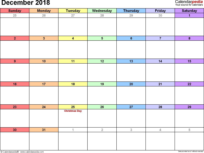 December 2018 Calendars for Word, Excel & PDF