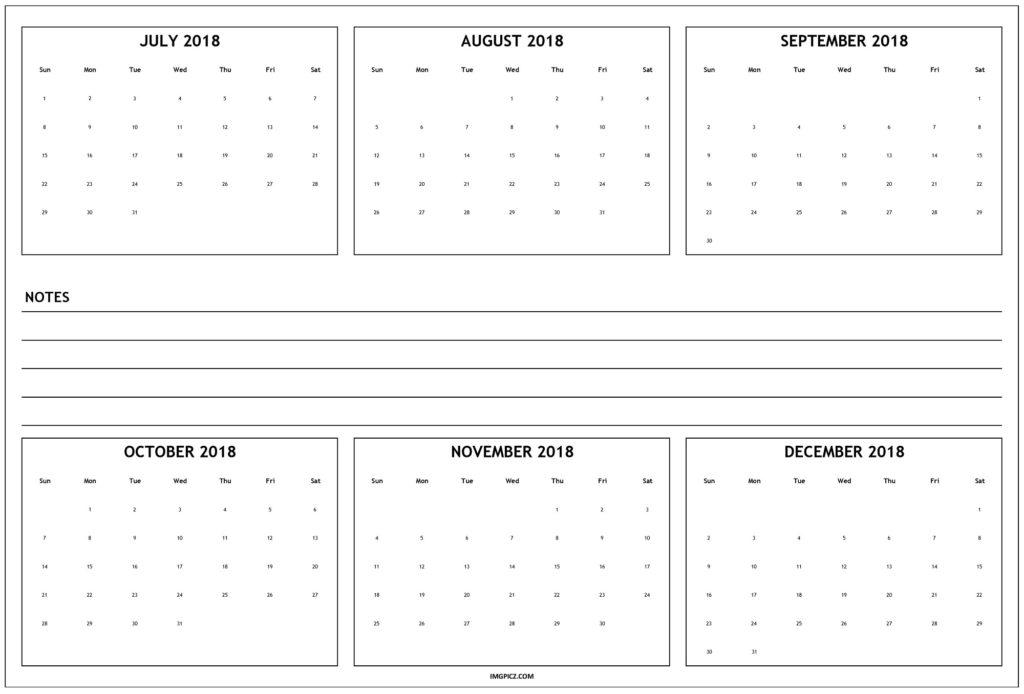 Calendar September Through December 2018 | Calendar Template