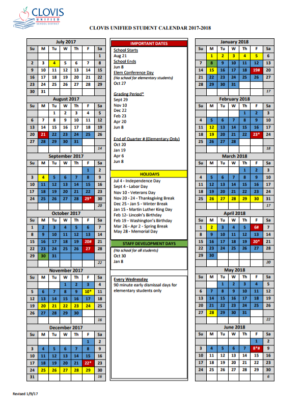 Clovis Unified 2015 2018 Calendar | Calendar Template 2018