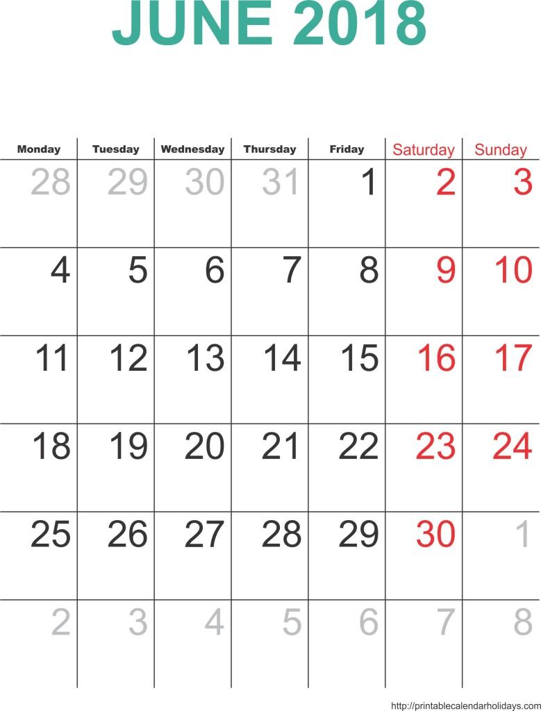 June 2018 Calendar Cute | calendar for 2019