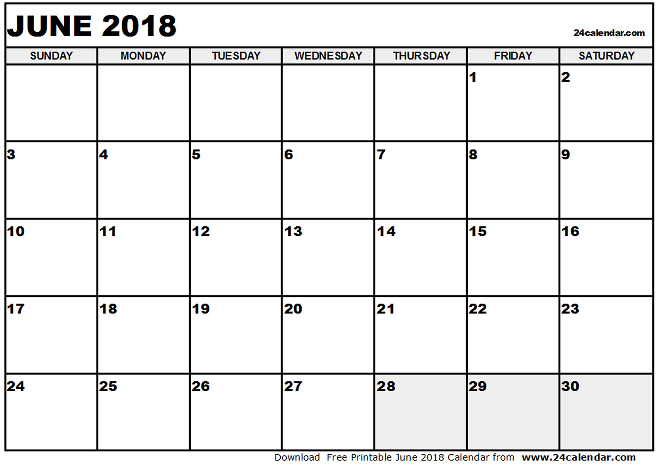 June 2018 Calendar PDF | calendar printable free