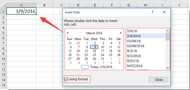 How to create a drop down list calendar in Excel?