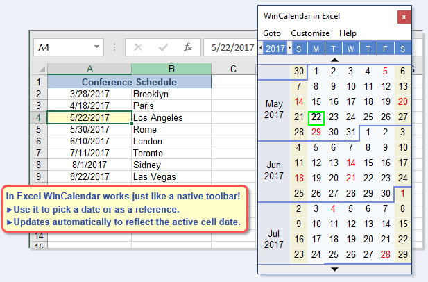 Drop Down Calendar In Excel 2018 Calendar 2018