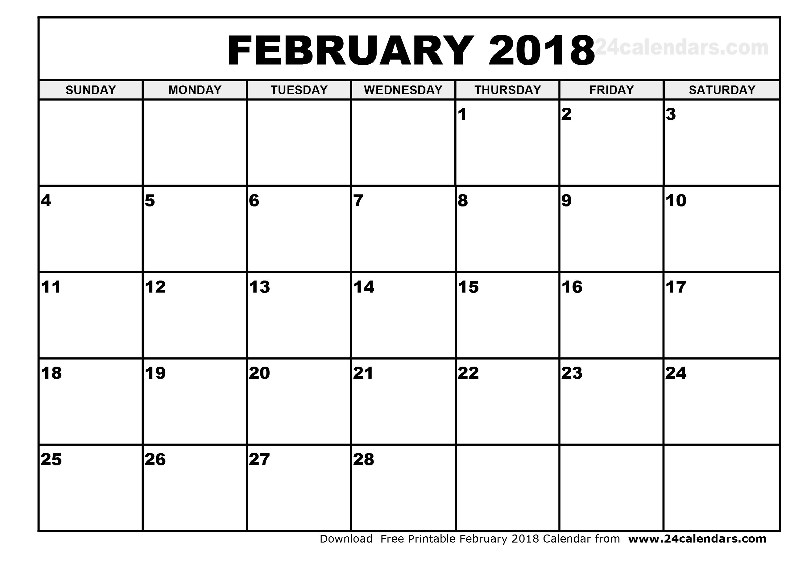 February 2018 calendar template Free printable calendar.com