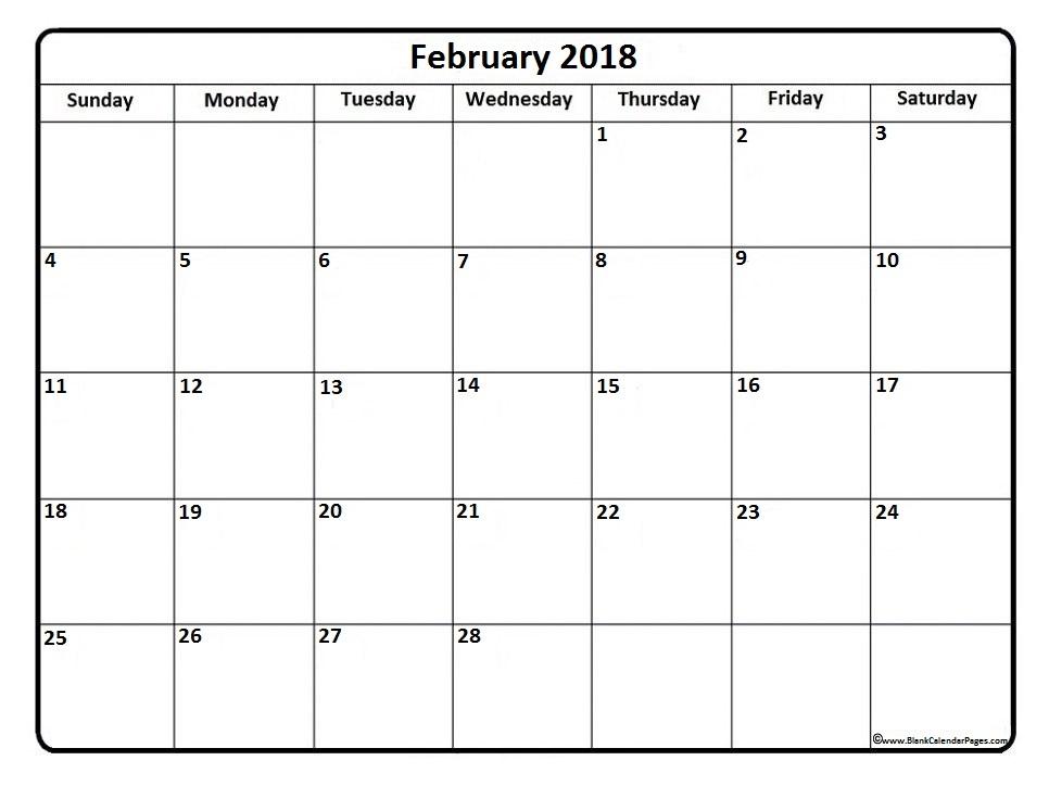 February 2018 calendar * February 2018 calendar printable