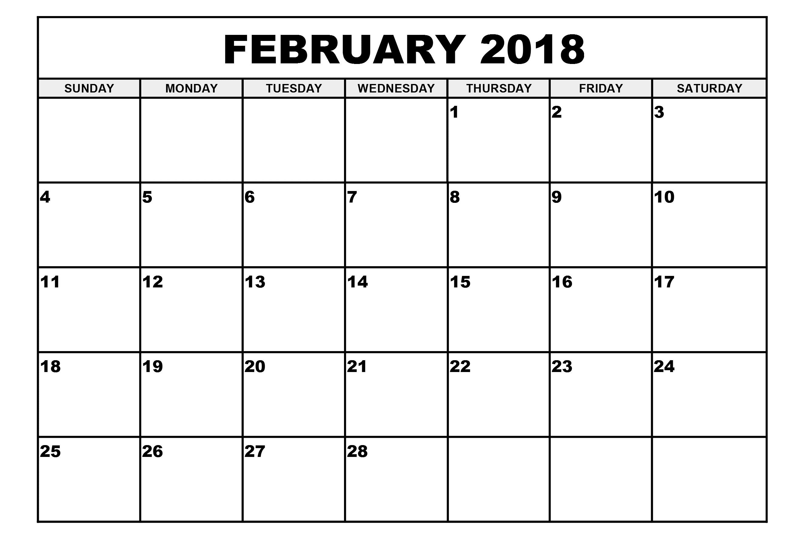 February 2018 Calendar Printable Template PDF with Holidays USA UK