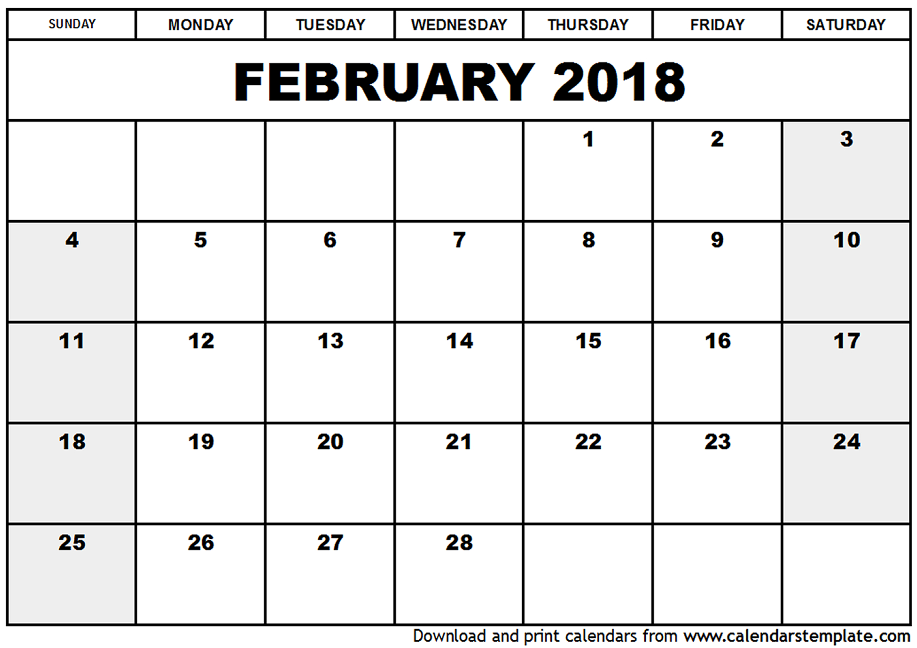 February 2018 Calendar | monthly calendar template