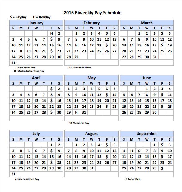 bi weekly calendar template Toreto.co