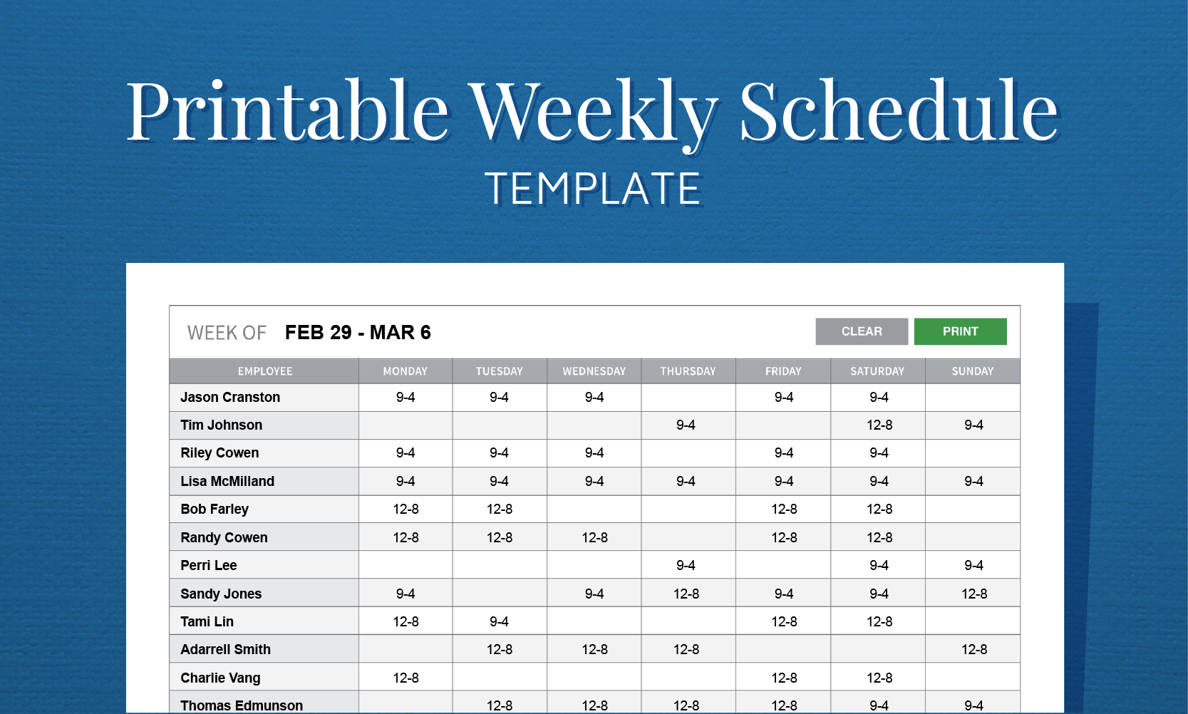 bi weekly schedule template Toreto.co