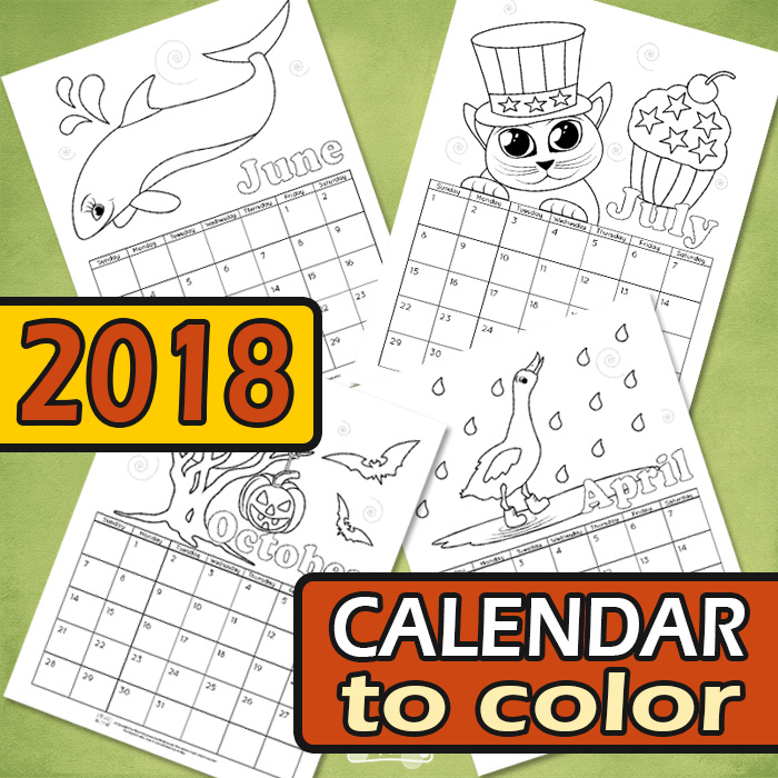 Printable Calendar for Kids 2018 Itsy Bitsy Fun