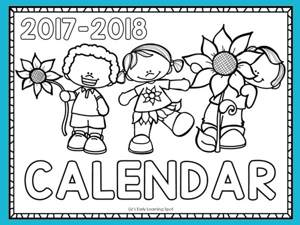 Free 2017 2018 Monthly Calendar for Kids | Liz's Early Learning Spot