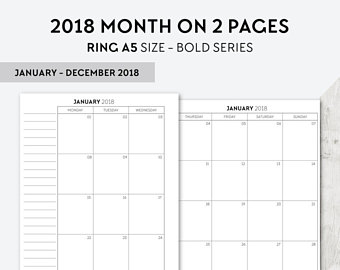 PA PERS 2017 2018 Month On 2 Pages Printable Planner Insert