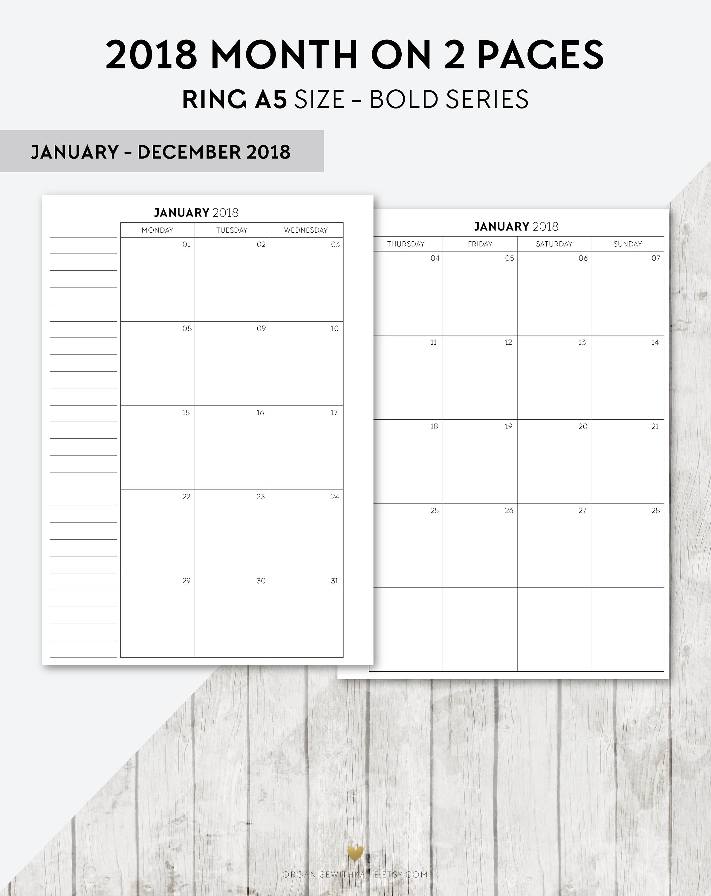 BO A5 2018 Month On 2 Pages Printable Planner Inserts 2018