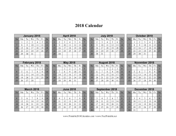 Printable 2018 Calendar on one page (horizontal shaded weekends)